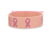 Pink Ribbon Logo Symbol Rubber Band Bracelt for Awareness 1PC