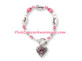 Breast Cancer Ribbon Bracelet, 1PIECE