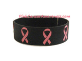 Pink Ribbon Rubber Band Bracelet for Caner Awareness Black 1PC