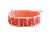 Pink Courage Rubber Band Bracelet for Caner Awareness 1PC