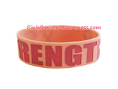 Pink Strength Rubber Band Bracelet for Caner Awareness1PC