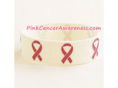 Ribbon Logo Symbol Rubber Band Bracelet for Awareness, White 1PC
