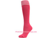 Bright Pink w White Cancer awareness Youth Football Sports Socks