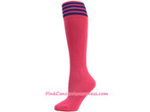 Bright Pink w Blue Cancer awareness Youth Football Sports Socks