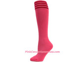 Bright Pink with Red Cancer awareness Youth Football Sports Sock