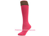 Bright Pink w Green Cancer awareness Youth Football Sports Socks