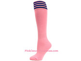 Light Pink with Blue Cancer awareness Youth Football Sports Sock