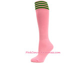 LightPink with Green Cancer awareness Youth Football Sports Sock
