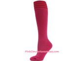 Hot Pink Red Stripe Cancer awareness Youth Football Sports Sock