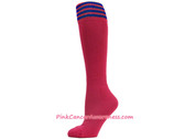 Hot Pink Blue Stripe Cancer awareness Youth Football Sports Sock