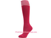 HotPink White Stripe Cancer awareness Youth Football Sports Sock