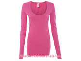 Ladies' Rib-Sleeve Scoop-Neck T-Shirt - Azalea