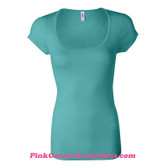 Teal Ladies' Sheer Mini Rib Scoopneck T-Shirt