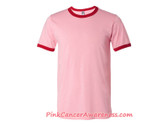 Heather Pink with Red hem Men's T-Shirt