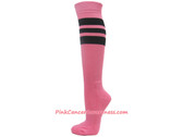 Pink Cancer awareness Sports Knee High Socks with Black Stripes