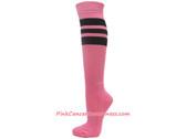Pink Cancer awareness Sports Knee High Socks with Black Stripes