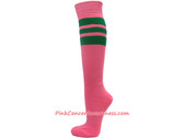 Pink Cancer awareness Sports Knee High Socks with Green Stripes