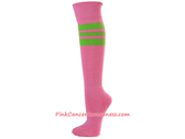 Pink Awareness Sports Knee Socks w Bright Lime Green Stripes