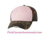 Light Pink Front Panel Women's Frayed Look Camo Cap