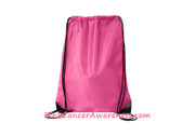 Hot Pink Black Drawstring Backpack