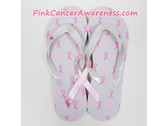 White With Pink Heart Ribbon Flip Flops