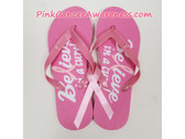 Bright Pink with White Text Flip Flops