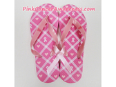 Bright Pink with White Ribbon Pink Heart Flip Flops