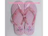 Light Pink withe White Dots Flip Flops