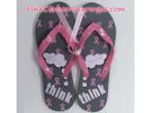 Charcoal with Bright Pink Ribbon Flip Flops