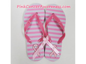 White / Bright Pink Stripes with Pink Ribbon Flip Flops