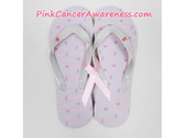 White With Pink Ribbon Heart Flip Flops