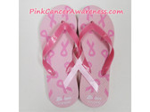 Light Pink With Bright Pink Ribbon Flip Flops
