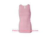 Light Pink Ladies' Sheer Mini Rib Racerback Tank Top