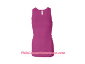 Hot Pink Ladies' Sheer Mini Rib Racerback Tank Top