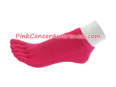 Hot Pink Cancer Awareness No Show Toe Socks