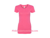 Bright Pink Ladies' 1x1 Baby Rib Scoopneck T-Shirt