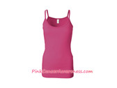 Hot Pink Ladies Semi-Sheer Long Length Spaghetti Strap Tank Top