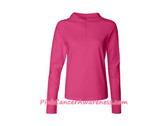 Hot Pink Ladies' Half-Zip Hooded Pullover Shirt