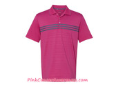 Adidas Pink Golf Men's Puremotion Climacool 3-Stripes Chest Polo