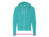 Teal Unisex Full-Zip Hooded Sweatshirt