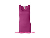 Hot Pink Ladies' Sheer Mini Rib Tank Top