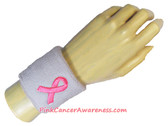 Pink Ribbon Symbol Cancer Awareness White Sports Wristband, 1PC