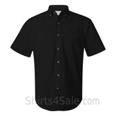 Black Short Sleeve Stain Resistant Dress Shirt for Men
