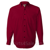 Red Long Sleeve Men's Cotton dress shirt