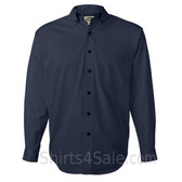 Navy Long Sleeve Men's Cotton dress shirt