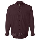 Maroon Long Sleeve Men's Cotton dress shirt