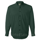 Dark Green Long Sleeve Men's Cotton dress shirt