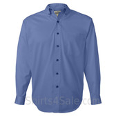 Cerulean Blue Long Sleeve Men's Cotton dress shirt