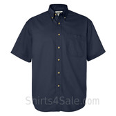 Navy Short Sleeve men's Cotton dress shirt