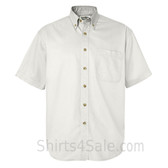 White Short Sleeve men's Cotton dress shirt